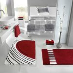 posh bathroom design with white  vanity idea and red contemporary rug with curved faucet