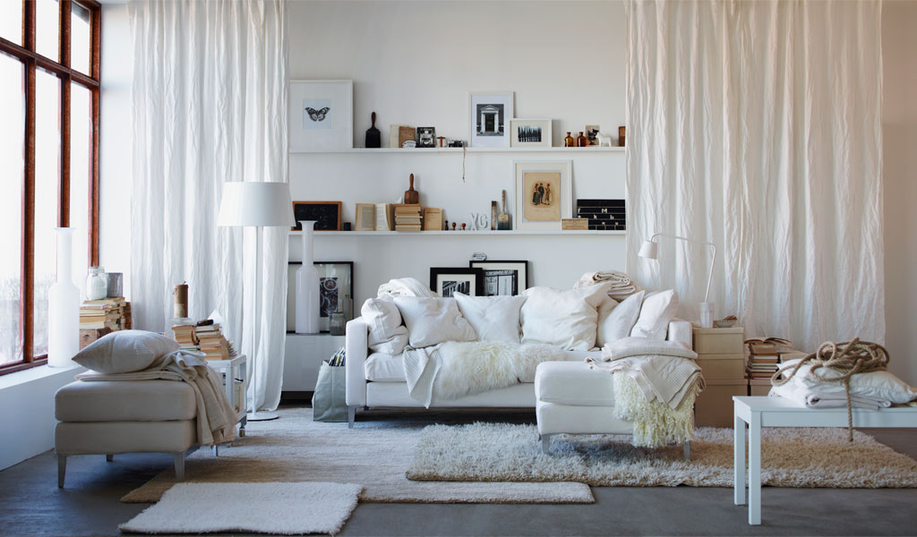 Posh White Interior Living Room Idea With White Sectional Sofa And White  Faux Fluffy Rug Idea Design Ideas