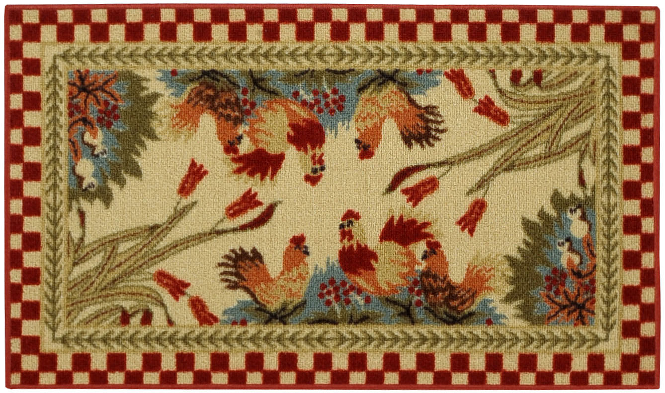 Rooster Rugs Round Country Rooster Kitchen Braided Runner