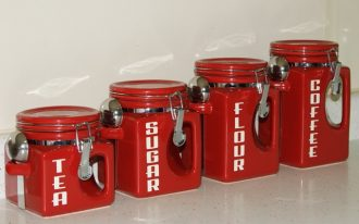 red-country-kitchen-canister-set-for-tea-sugar-flour-and-coffee-also-fit-for-modern-kitchen-available-in-different-sizes-features-with-spoon-for-each-canister