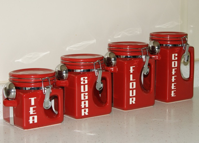 Red Country Kitchen Canister Set For Tea Sugar