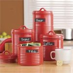 red-kitchen-canister-made-of-ceramic-and-can-shaped-for-fashinable-style-features-chalkboard-labels-set-of-four-also-fit-for-modern-kitchen