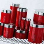 red-kitchen-canister-sets-for-tea-sugar-cake-biscuit-bread-coffee-salt-utensils-and-others-with-labels-on-it