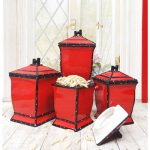 retro-and-fun-red-kitchen-canister-the-Red-Ruffle-Canister-set-of-four-made-of-glazed-ceramic-and-hand-painted-with-neoprene-plastic-seals-for-the-lids