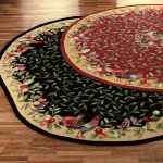 round rooster kitchen rugs in black and red which is suitable for country kitchen decorating ideas