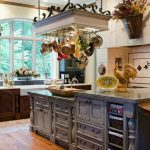 rustic and vintage kitchen ideas with old kitchen cabinets and sturdy countertop together with pot rack with lights and wooden laminating floor