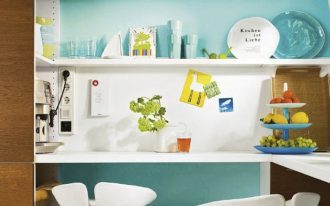 scandinavian blue kitchen design with floating shelves idea and white color blue combination and modern white chairs
