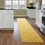 simple and classic kitchen design with white cabinet and wooden floor and yellow kicthen rug and mat