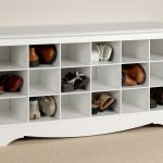 Simple And Elegant Shoe Storage In The Entry Idea With Short And Small Slots On Creamy Floor