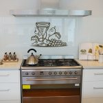 Simple And Elegant White Tile Kitchen Backsplash With Paint And Rack With White Cbainet And Cooktop