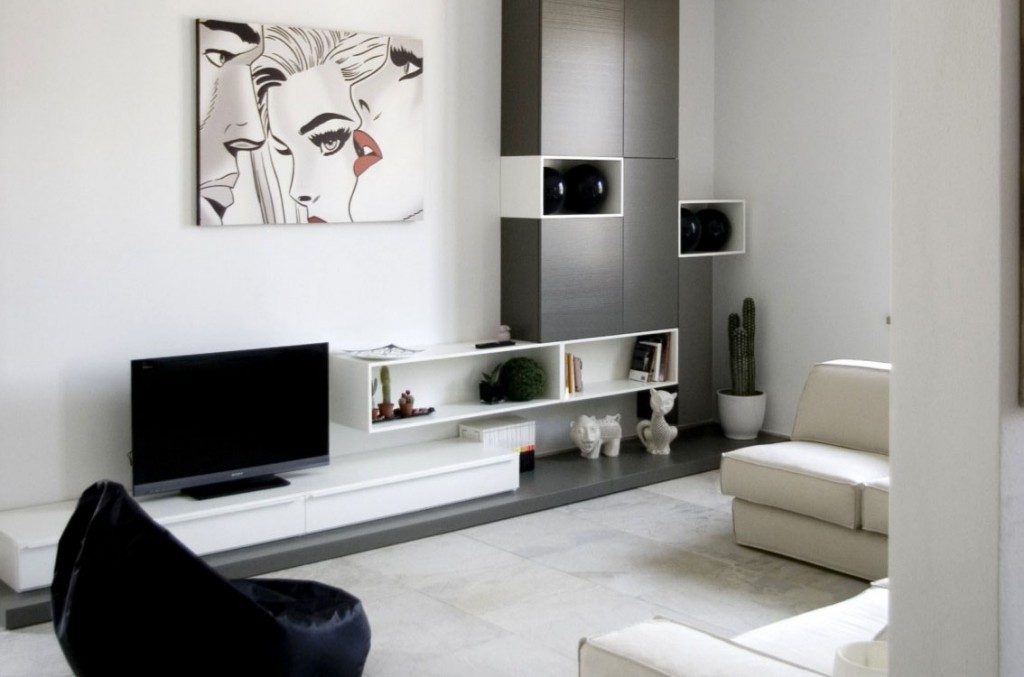 Simple Black And White Interior Design In The Living Room With Console Tv  Table With Seductive
