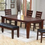 simple brown wooden dining table idea with potery decoration and backrested chairs and black upholstered bench