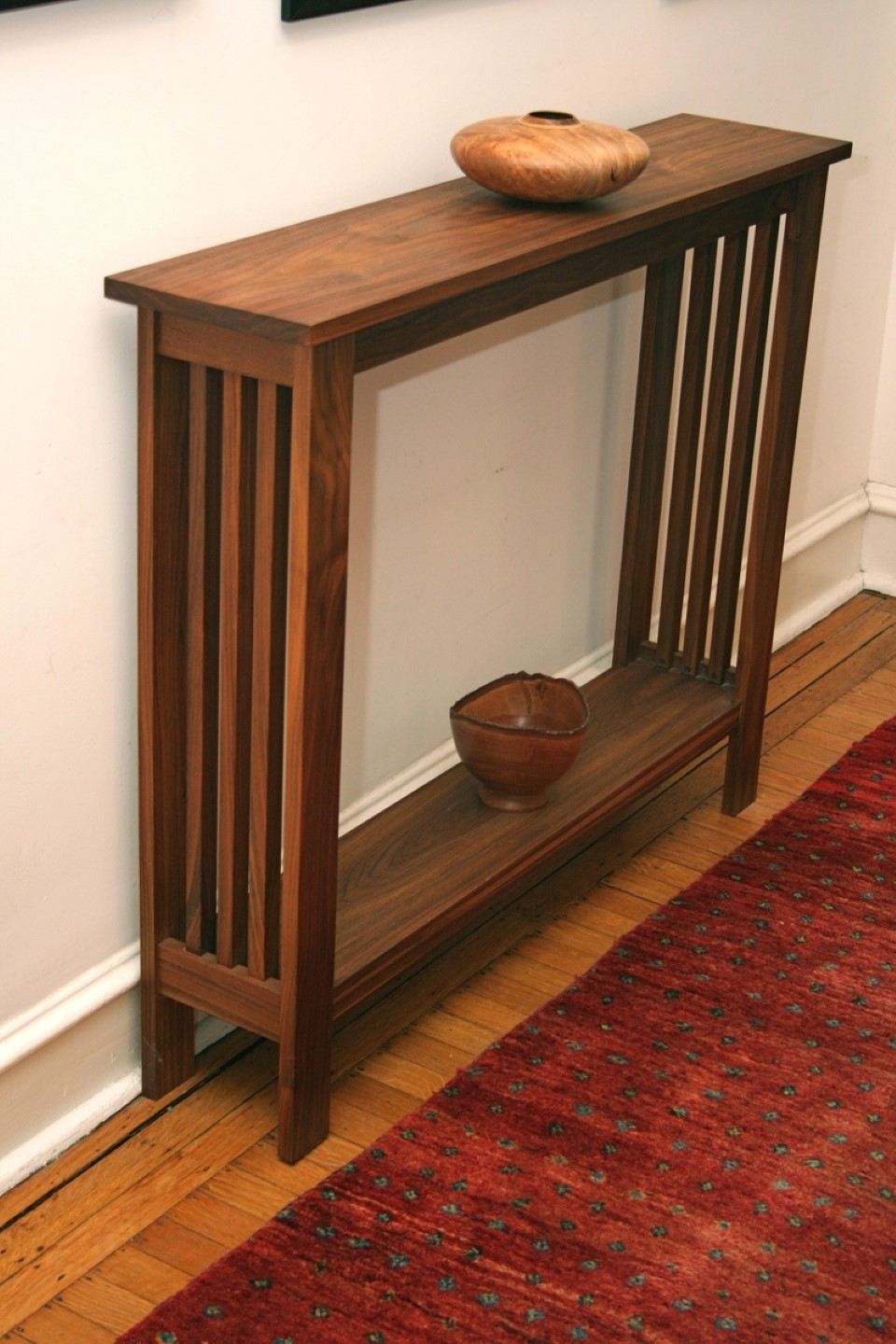 Simple Natural Wooden Small Console Table For Hallway Idea With Traditional  Pottery On Wooden Floor With