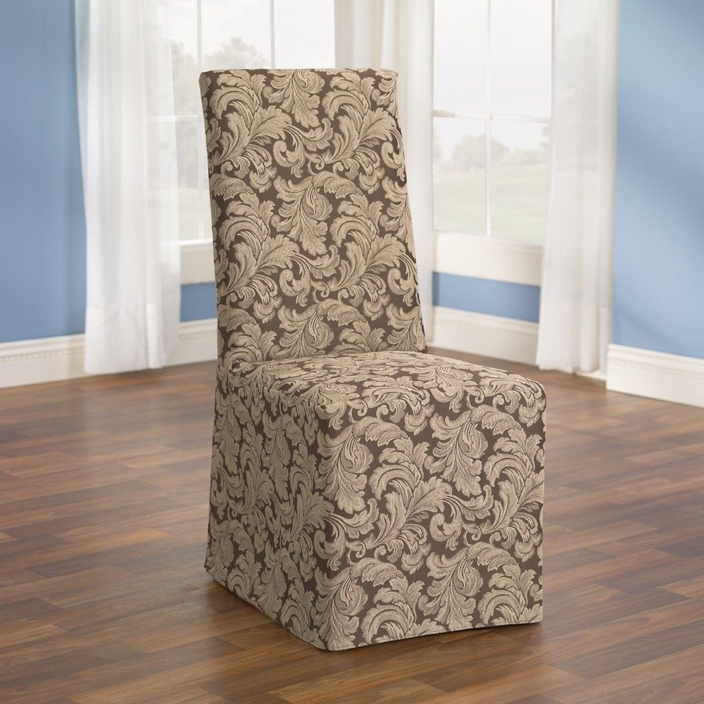 Slipcovers For Dining Room Chairs Without Arm In Fascinating Fabric Motif  Plus Dark Laminate Floor And