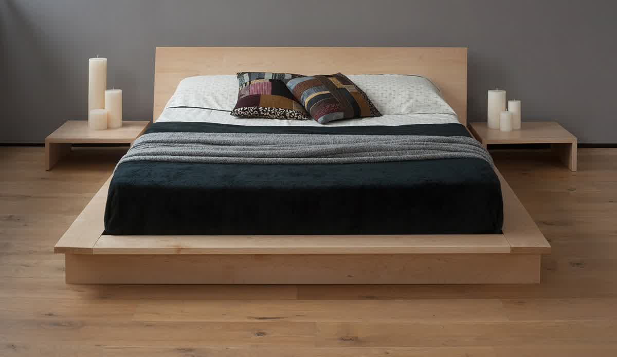 solid and unfinished wood platform bed frame with headboard in modern ...