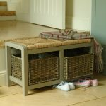 sophisticated small bench with storage with natural baskets and rattan upholstery for enjoyful home ideas