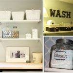 space saving Laundry room shelf ideas with double mounted shelves and metal storage beautified with photo frames