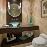 stnning creamy small toilet dimension design with white toilet seat and floating wooden vanity with round wall mirror