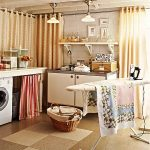 stunning and colorful laundry room with unique laundry room shelf idea  floating on the wall beneath pendant track