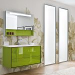 stunning and fresh green image of bathroom vanity idea design floating on the wall with lovable wallpaper and unique closet