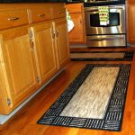 stunning black and white japanese kitchen rug and mat idea on wooden floor with wooden cabinet