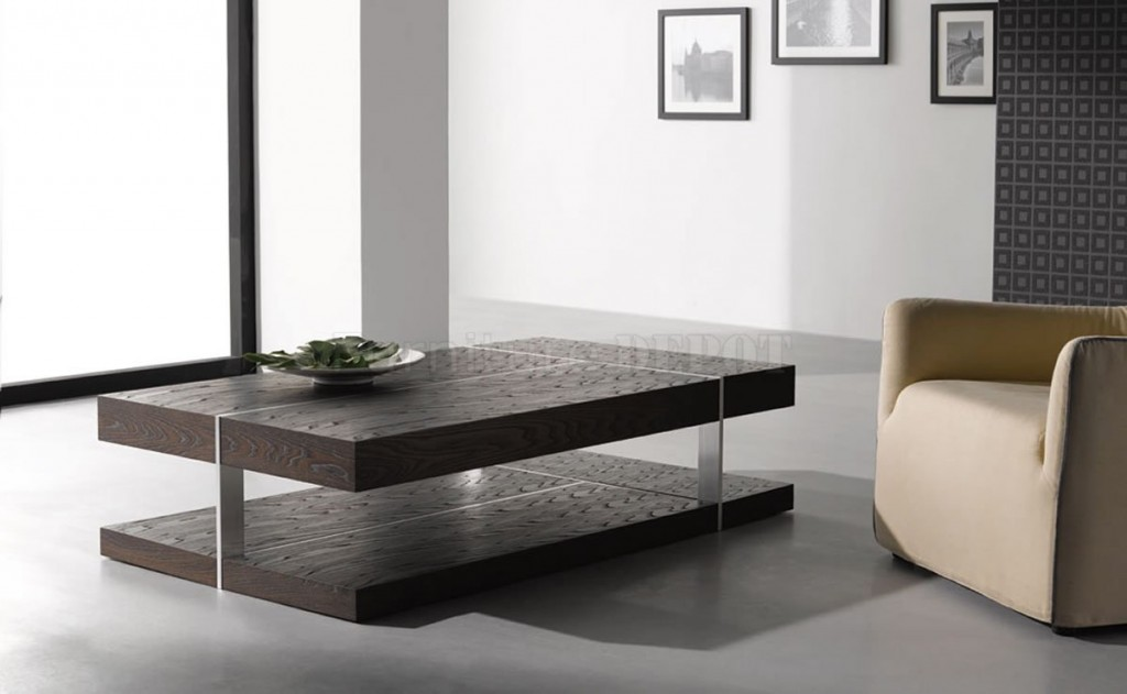 Stunning Black Modern Cool Coffee Table With Double Top Metal Stand
