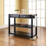 stunning black wooden kitchen cart design with middle rack and wheels and beige wooden top