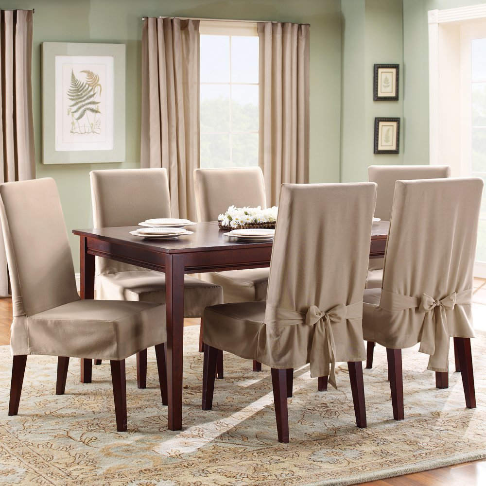 stunning-creamy-slip-cover-for-dining-room-chairs-design-with-wooden-legs-and-wooden-dining-table-and-centerpiece Dining Room Chair Slip Covers