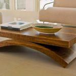 stunning furnished wooden cool coffee table with curved elegant leg and bold design