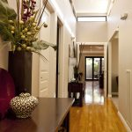 stunning hallway decoration with small wooden console table with wooden floor and pottery