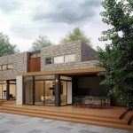stunning house design with wooden flooring and open plan concept and brick facade idea and stony backyard patio design
