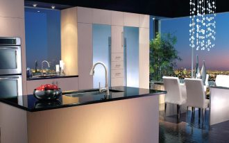 stunning kitchen collection design idea with white cabinet and night view from open plan with dropping chandelier