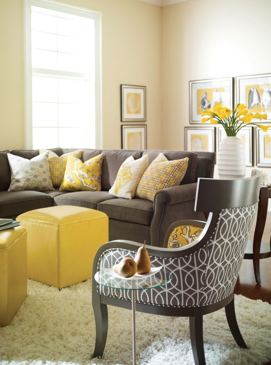Stunning Living Room Design With Brown Sofa With Sectional And Yellow Couch  And Arm Chair And