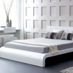 stunning minimalist worth platform bed design with gray bedding and padded headboatd and glass window