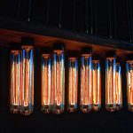 stunning old fashioned bulb light idea with tube shape wooden board undeneath