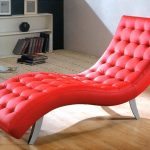 stunning red small chaise lounge design with tufted pattern and curved style and metal legs and wooden floor