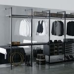 stunning simple walk in wardrobe idea with black metallic storage design with white bedding with black sheet