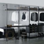 stunning simple walk in wardrobe idea with black metallic storage design with white bedding with black sheet