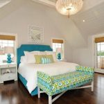stunning turquoise bedding idea with simple headboard design and ethnic patterned bench andchandelier and wooden floor