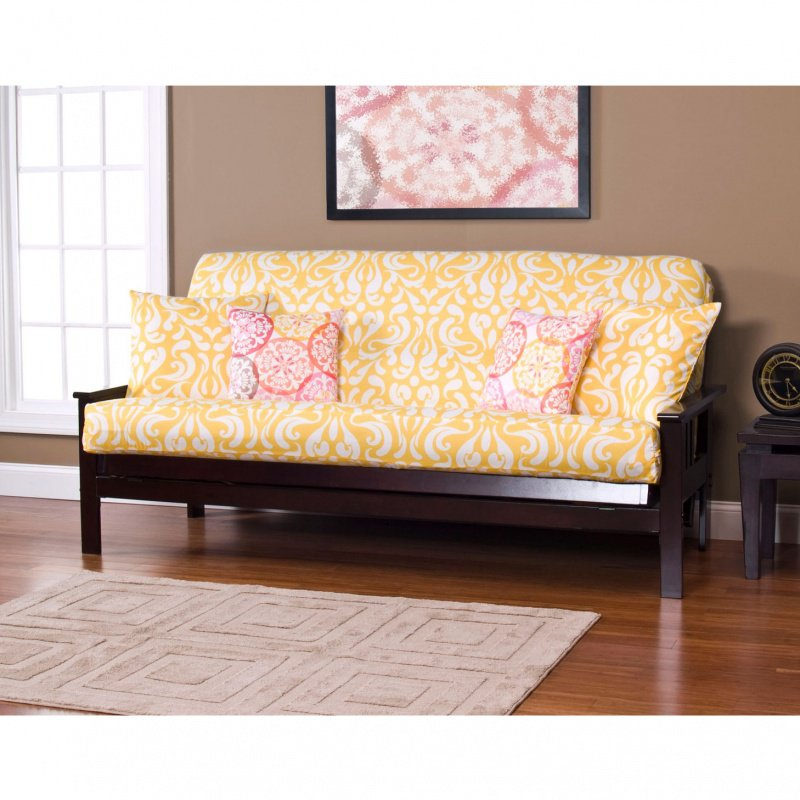 Stylish Yellow Loveseat Slipcover Design With Pink Patterned Cushion Idea  With Black Wooden Frame And Wooden