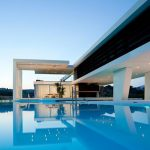 super posh modern house design with hovering style and luxurious swimming pool underneath and spacious detail