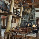 super rustic wooden house design with wooden dining set and wooden floor and pole log idea and wooden ceiling