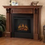 The Ashley Electric Fireplace In Mahogany From The Real Flame Includes Wooden Mantel Firebox Screen And Remote Control Also Dynamic Ember Effect