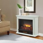 The Derry Compact Infrared Electric Fireplace Form Hamptom Bay With Remote Control And Hand Finished Wood Veneers Also With 5 Various Temperature Settings