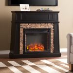 the-Upton-Home-fitzgerald-black-faux-stone-electric-fireplace-with-transitional-style-and-black-with-mesa-verde-faux-stone-also-lifelike-multicolor-flames