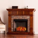 the-aiden-corner-electric-fireplace-with-buckeye-oak-with-Durango-faux-stone-in-traditional-style-and-authentically-textured-stacked-stone-look-and-multicolor-flames