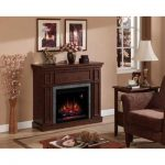 the-granville-infrared-electric-fireplace-with-faux-stone-surround-mantel-from-the-home-decoration-collection-in-antique-cherry-with-automatic-on-screen-LED-indicator