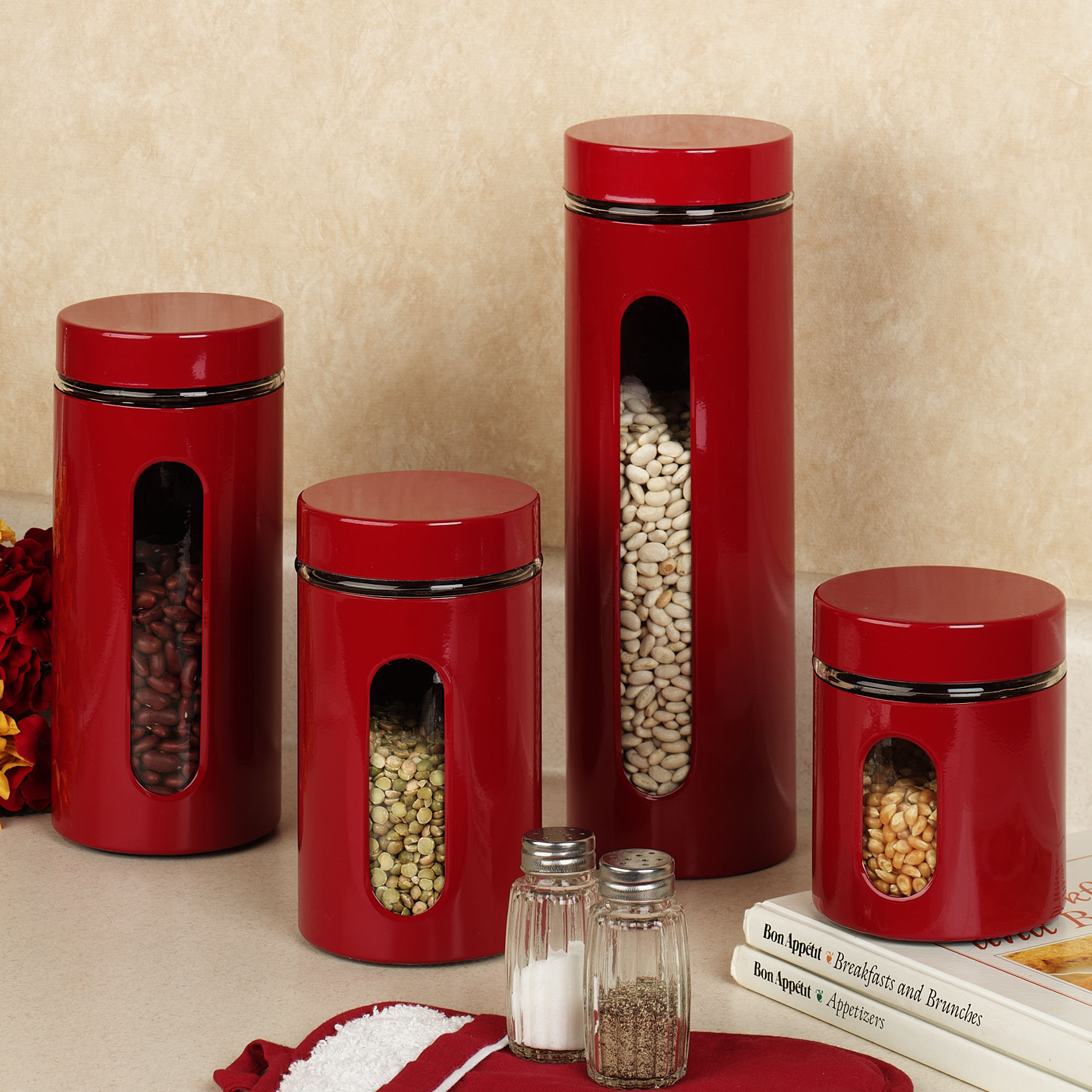 The Palladian Red Window Kitchen Canister Set And