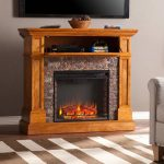 the-priscilla-corner-media-faux-stone-electric-fireplace-with-sleek-lines-simulated-stone-and-classicsal-woodwork-also-flip-down-shelf-and-stack-faux-Durango-stone