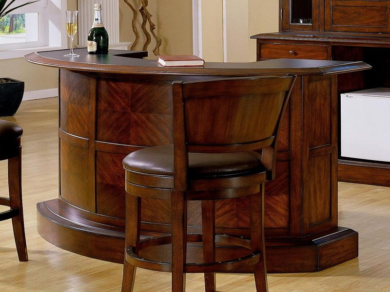 Traditional Home Bars Ikea In Curved Shape And Wooden Upholstered Stools In  Dark Finishing For Comfortable